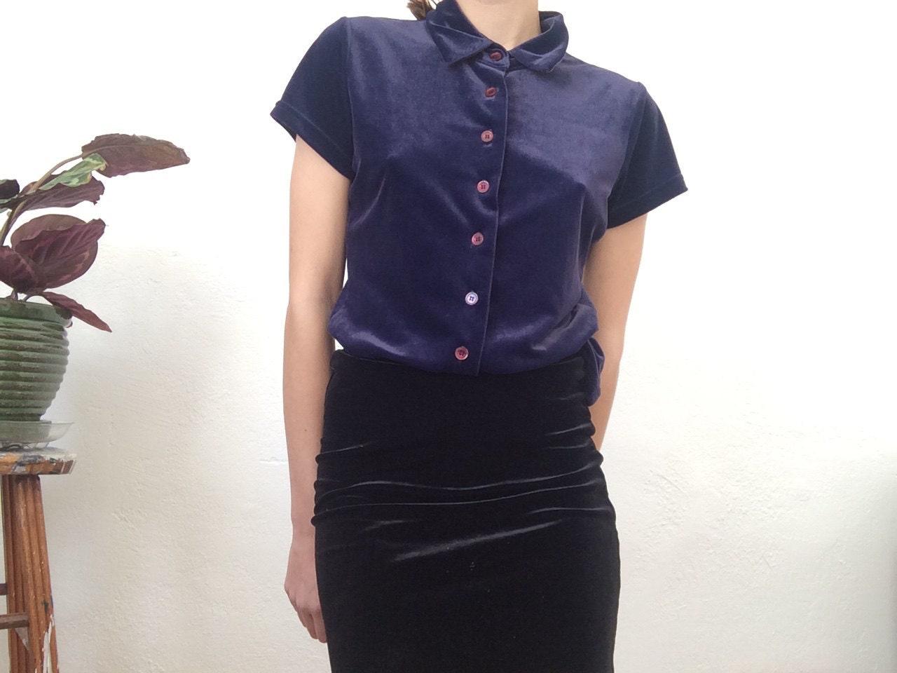 Indigo Velvet Button Up Shirt Collared Short By