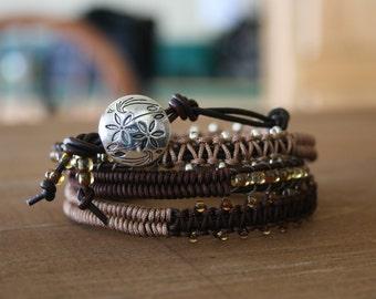 Wrap Bracelet- Macrame Wrap Bracelet- Bohemian Jewelry- Leather Wrap- Flower Button- Boho Chic Brown Glam