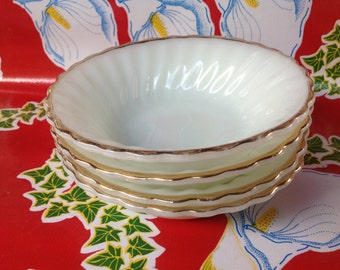 "Vintage set of 4 of Anchor Hocking Fire King ""Suburbia"" milk glass gold rim bowls"