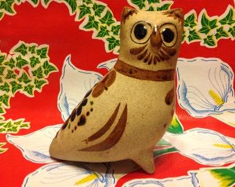 Vintage ceramic tonala hand decorated owl figurine- Mexico