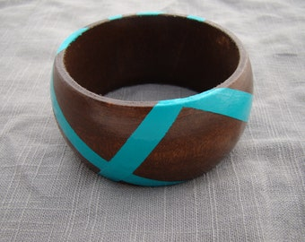 Modern Teal Hand Painted Wooden Bangle