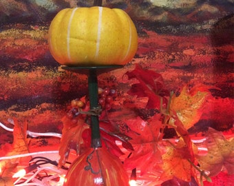 Hand painted wine glass candle holder