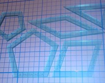 La Passacaglia Acrylic Patchwork Quilt Templates  - 1/4 inch seam - WINDOW style (5 pieces) for Willyne Hammerstein Millefiori Quilt pattern