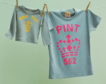 Mummy and Me Pint T Shirt for Mothers & Half Pint tshirt for Son or Daughter Grey- Organic cotton tee