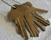 Set of 10 Antique Brass Keys