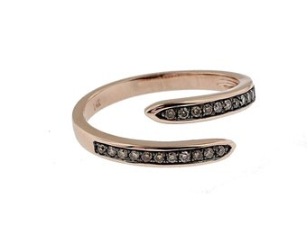 Channel Set Bypass Diamond Ring, 14K Rose Gold, Champagne Diamonds
