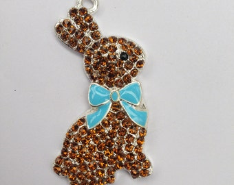 46mm Easter Chocolate Bunny Spring Blue Bow Rhinestone Pendant Chunky Necklace Beads