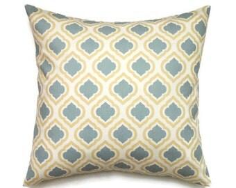 Yellow Pillow, 16x16 Pillow Cover, Decorative Pillow, Designer Pillows, Modern Cushion Cover, Blue Pillow Covers, Curtis Saffron Macon