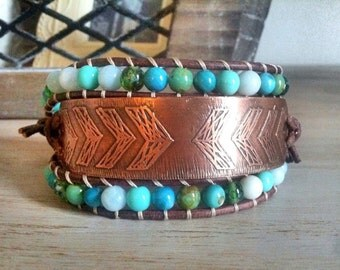 Arrows Series - Etched Copper Beaded Leathet Bracelet - Handcrafted Metal Button