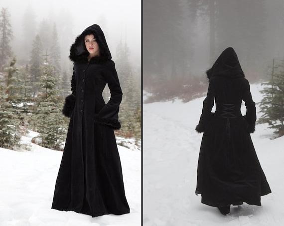 Anastasia Coat Hooded Velvet Coat With Fur Trim