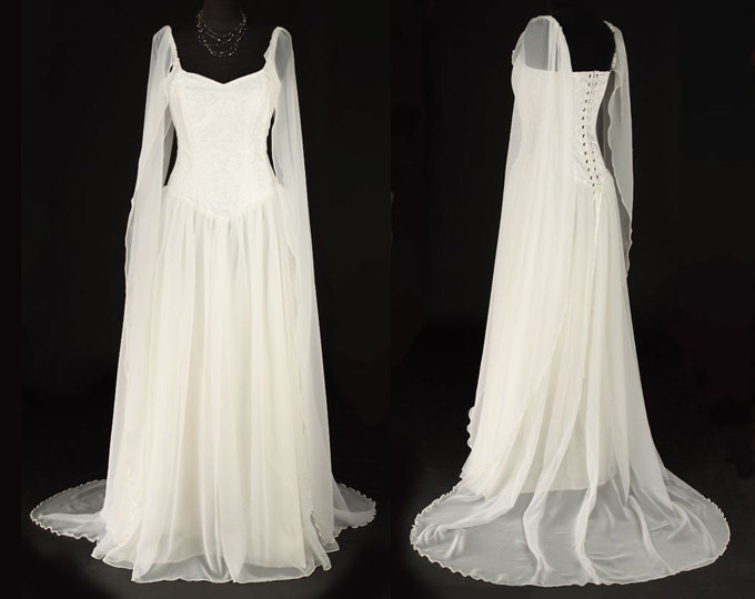 Avalon dress elven style bridal handfasting gown for Elven inspired wedding dresses