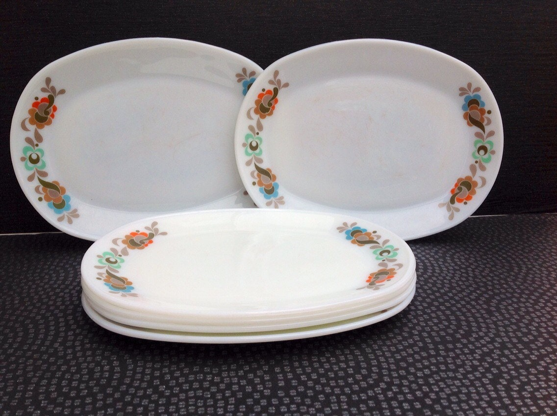 Carnaby Tempo Oval Steak Plates 6 Dinner Plates In Good