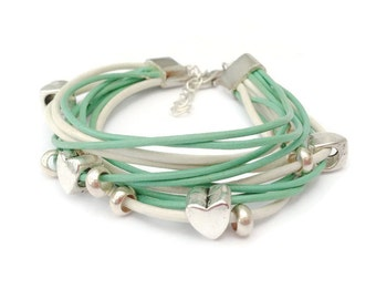 Cream and Mint Green Leather Bracelet, Multi Strand Charm Bracelet, Summer Stack, Mint Bracelet, Mint Green Jewellery, Heart Charms, Beach