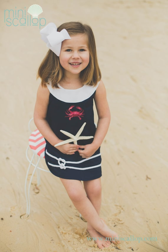 Child Girls Toddler Nautical Navy Crab Shift Dress Nautical