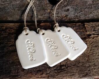 Set of 3 Merci Gift Tags - Handmade