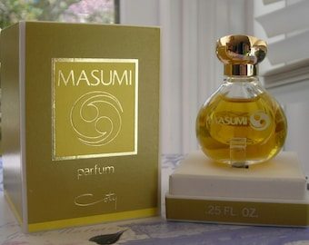 vintage Coty Masumi parfum. Perfume miniature, new in box, 0.25 oz or 7.5 ml. New old stock.