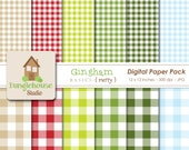 Christmas Gingham Digital Paper Pack | Holiday Digital Papers | Instant Download | Red and Green Papers