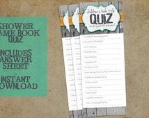Children's Book Title Quiz | Baby Shower Game | Classic Neutral Design with Rustic Wood | Printable Instant Download