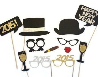 New Years Eve Photo Booth Props -12 Piece New Years Party Props - GLITTER photo props