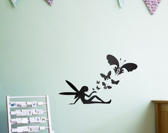 Fairy Butterflies Vinyl Wall Art Decal for Kids and Children's Nursery