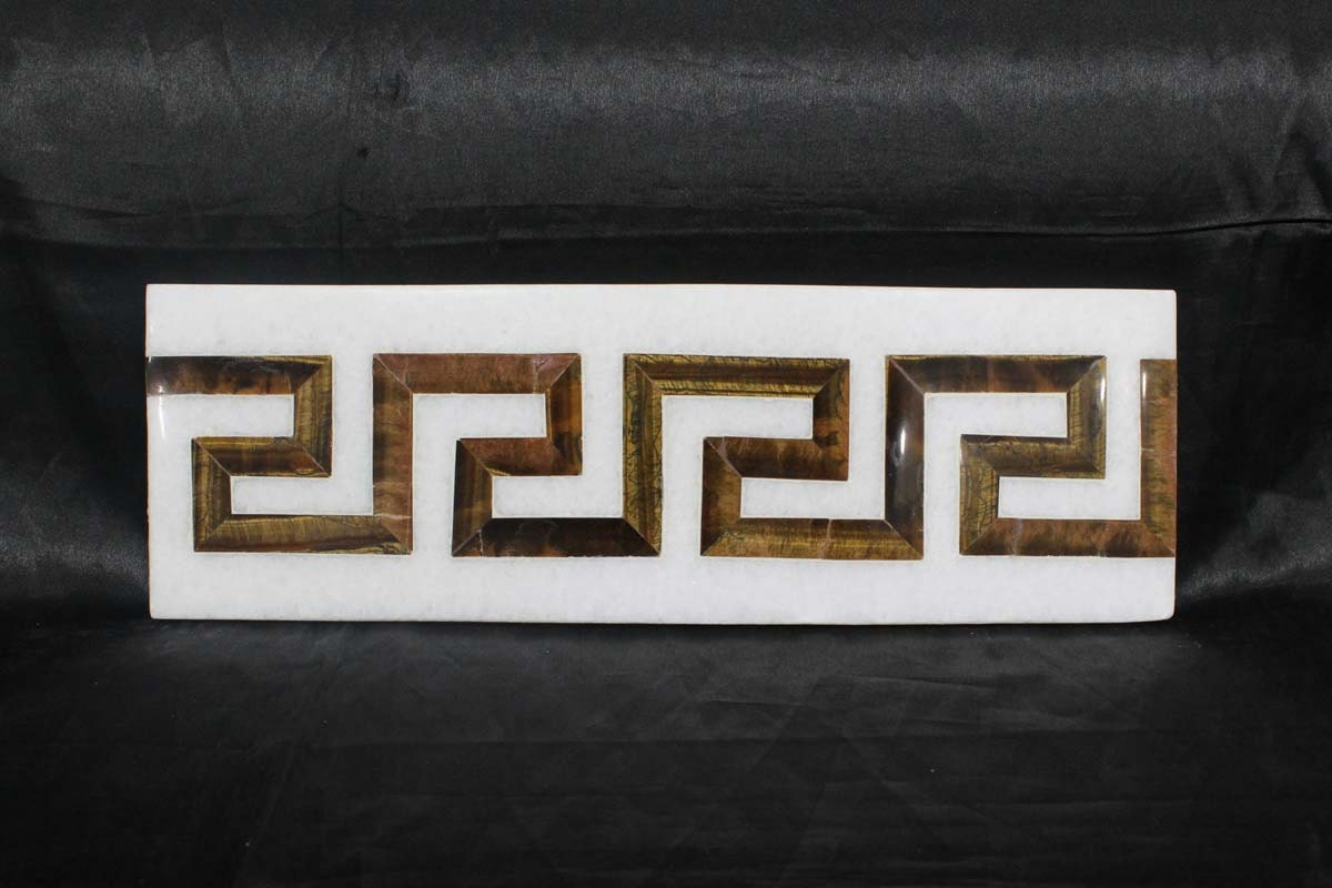 Marble Inlay Wall Tiles Greek Border Design Kitchen