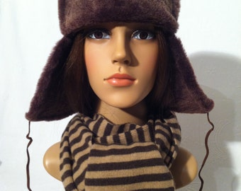 007 - fur hat / Lapeer from natural lambskin and nappa leather