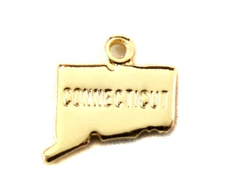 2x Gold Plated Engraved Connecticut State Charms - M114-CT