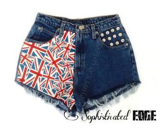 British Flag, UK, Union Jack Printed High Waisted Denim Studded Shorts -Plus Size Available!
