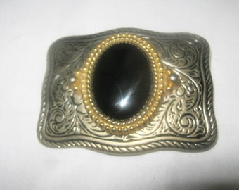 Heavy Metal Belt Buckle With Large Black Stone
