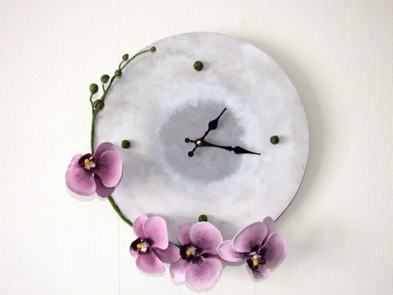 Wood wall clock decorated with orchids made of polymer clay; Home decor