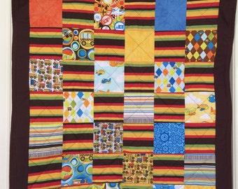 Baby Boys Cot / Crib Quilt. Play mat. Handmade kids throw. Dump trucks quilt