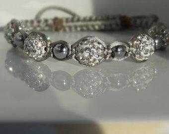 Silver Round Pave' Macrame Bracelet