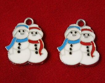 """BULK! 15pc """"snow man"""" charms in antique silver style (BC502B)"""