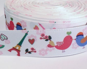 "5 yards of 7/8 inch ""Paris"" grosgrain ribbon 7/8 inch"