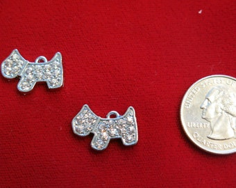 """5pc """"dog"""" rhinestone charms in antique silver style (BC573)"""