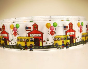"5 yards of 1 inch ""Back to school"" grosgrain ribbon"