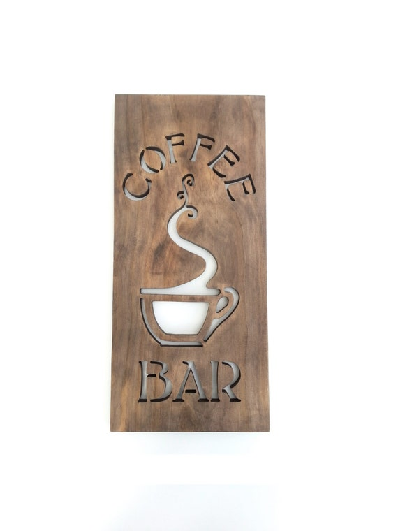 Coffee bar sign modern kitchen art wood home by timberartsigns for Modern art home decor etsy