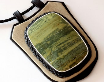 Huge Green Picture Jasper Gemstone Cabochon Handmade Genuine Leather Pendant Necklace 3,4""