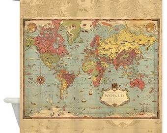 Antique world map fabric shower curtain vintage map travel retro decorative world mercator map shower curtain historical antique image pirate map gumiabroncs Gallery