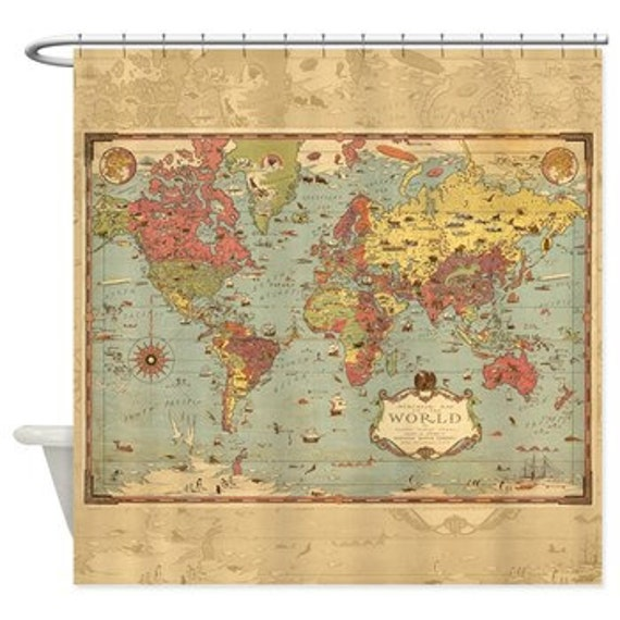 World Mercator Map Shower Curtain - Historical , antique image, Pirate map, vintage map - Home Decor - Bathroom - travel, blue, green aged