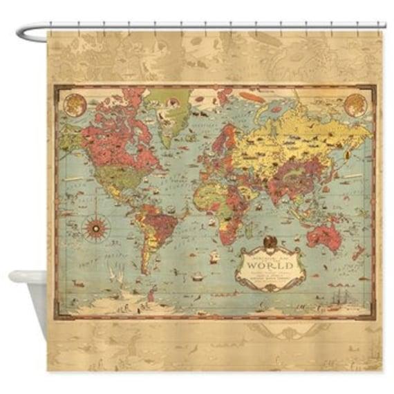 R tro d coratif monde mercator carte rideau de douche image - Rideau de douche carte du monde ...