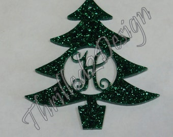6 inch Christmas Tree Ornament Monogram Acrylic Style 2 - Initial, Customized, Christmas Ornament - Vine Monogram