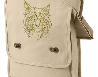 Northwoods Silhouette Wildcat (Lynx) Embroidered Canvas Field Bag