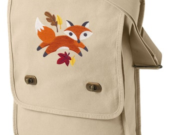 Fox Bag, Fox Canvas Field Bag, Fox Messenger Bag, Fox in Fall Frenzy Embroidered Canvas Field Bag
