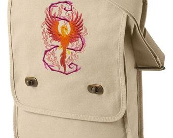 Phoenix bag, Phoenix Canvas Bag, Phoenix Messenger Bag, Phoenix in Fantasy Flames Embroidered Canvas Field Bag
