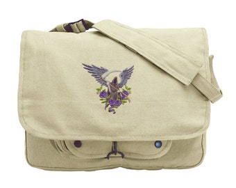 Angel of Death Embroidered Canvas Messenger Bag