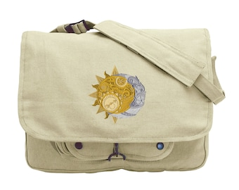 Sun and Moon Messenger Bag, Clockwork Heavens Embroidered Canvas Messenger Bag