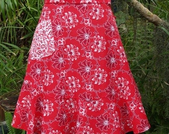 Vintage Style Waist Apron Red Floral