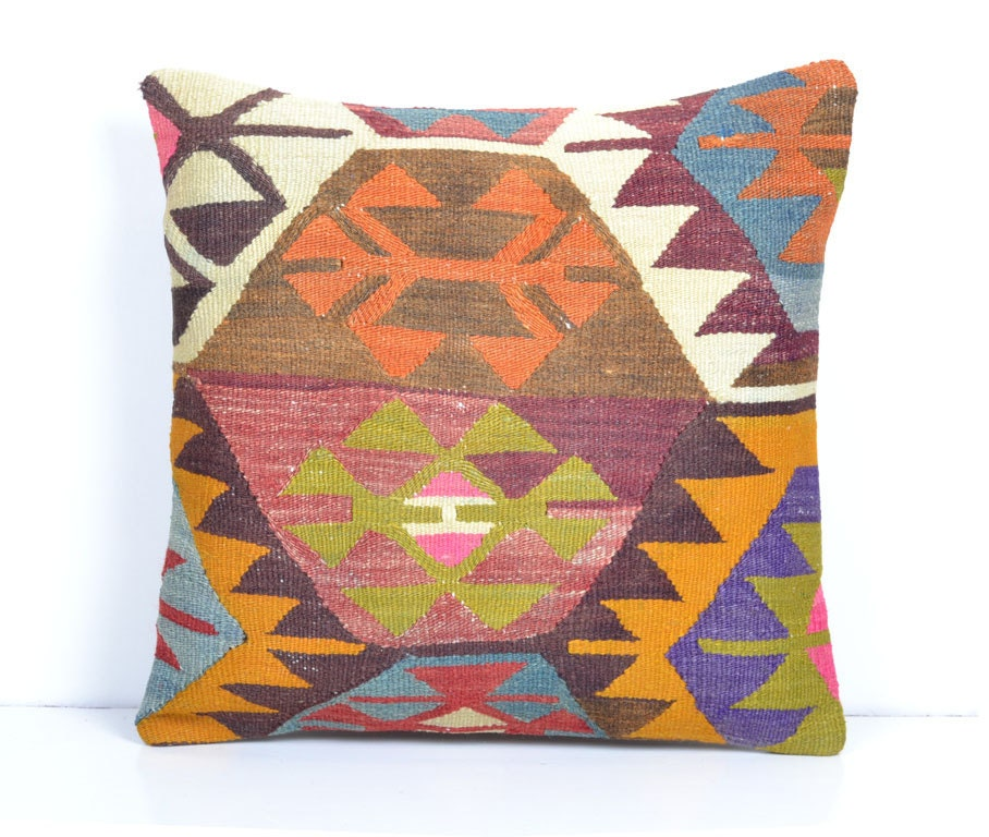 Turkish Kilim Throw Pillows : Kilim pillow Decorative Pillows Turkish Ethnic by PillowsHistoric