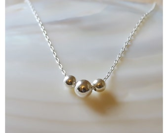 sterling silver necklace • 3 dot necklace • ball necklace • everyday jewelry • layered dainty sterling silver necklace • B174